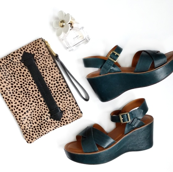 bc1b602e260 Kork-Ease Shoes - Kork-Ease Ava Green Leather Platform Wedge Size 8
